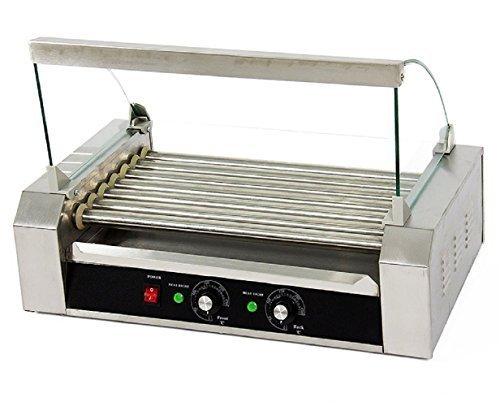 Portable 18 Hot Dog 7 Roller Grilling Machine Stainless Commercial W/ Cover New by JDM Auto Lights