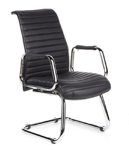 hjh OFFICE 600901 Besucherstuhl ASPERA V Leder Schwarz Freischwinger Stuhl Konferenzstuhl