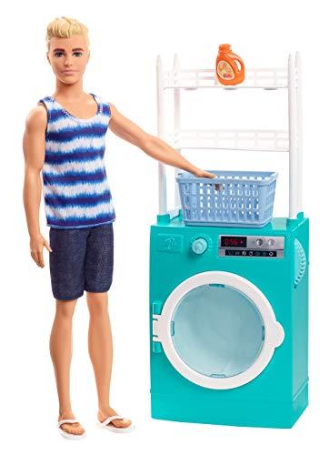 Barbie FYK52 - Ken Puppe und Waschmaschine Spielset mit Schleuderfunktion und Zubehör, Puppenzubehör ab 3 Jahren