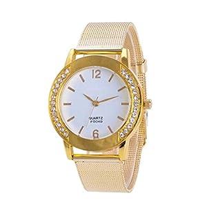 Mode Retro Damen Herren Kristall Diamant Goldene Uhren Edelstahl Analoge Quarz Armbanduhr Groveerble