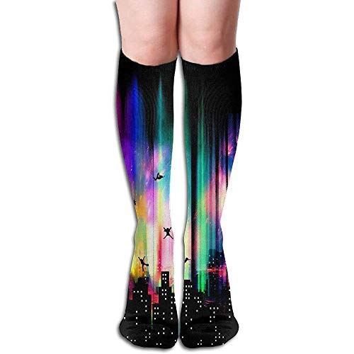 Funny Bag Tube High Knee Sock Boots Crew Fox Pattern Compression Socks Long Sport Stockings 19.7in (50cm) (Welly Sock Liner)