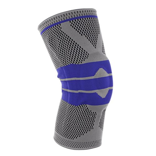 Kompressions-Kniebandage für Sport, Unterstützung für Laufen, Wandern, Training, Basketball, rutschfeste Kniebandage zur Schmerzlinderung für Meniskus, Gelenk, Arthritis und Verletzungen, für Damen und Herren, 1 Stück, gray+blue