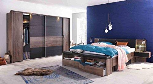 lifestyle4living Schlafzimmer, Schlafzimmer-Set, Futonbett, Bett, Bettanlage, Kopfteilpolster, Drehtürenschrank, Schwebetürenschrank, Schlammeiche, Schwarzeiche