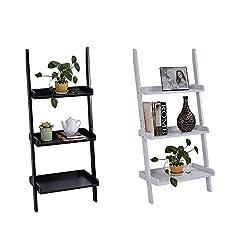 Casart 3 Tier Wooden Wall Rack Leaning Ladder Shelf Unit Bookcase Display Holder Stand Blackwhite (White)