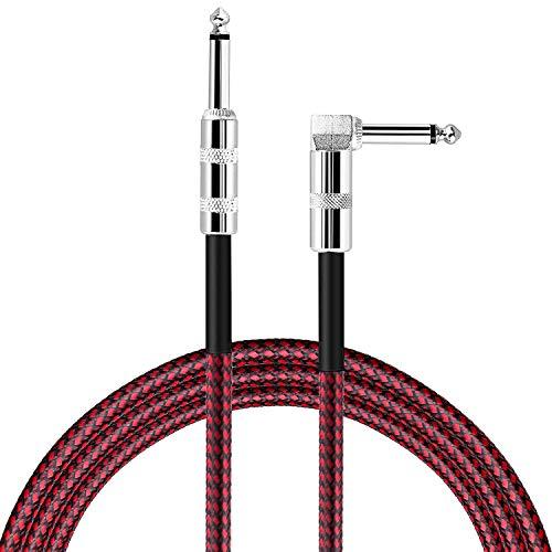 Mystery 3M Cable Guitarra Eléctrica, Instrumento Cable para Guitarra / Bajo / Teclado Profesional, Trenzado 1/4 Jack a Jack (Rojo)