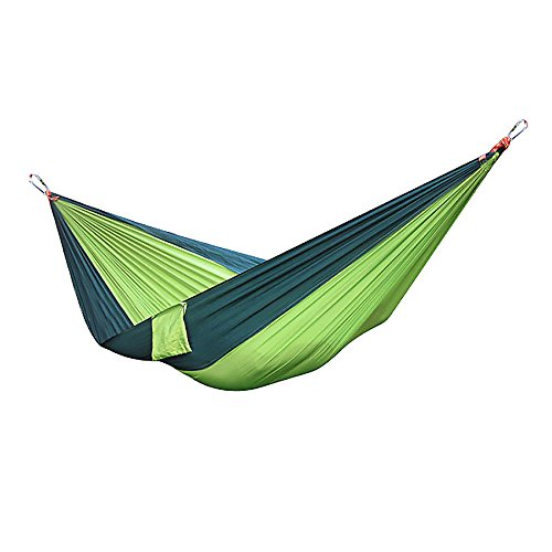 Hamac Double Portable en Nylon/toile de Parachute en Nylon Camping Hamac de voyage Vert Blackish Jaune/Vert