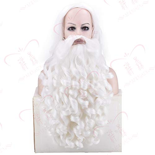 Weihnachten Santa Claus Bearded Headgear Weiß Bearded Anime COS Model Dress Up Weiß Opa mit Bart durch WIG (Herren Bearded Kostüme)