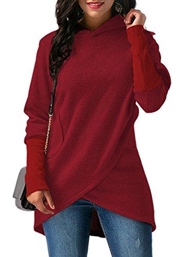 Donna Felpe con Cappuccio Moda Asimmetrico Orlare Maniche Lunghe Cappotto Giacca Pullover Sweatshirt Hoodie Outwear Tops Rosso