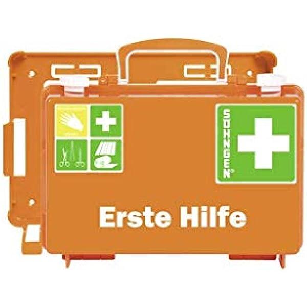 Söhngen Erste Hilfe Koffer Quick Cd Mit Füllung Standard Din 13157 Mit Wandhalterung Koffer Plombierbar Orange 0301125 Auto
