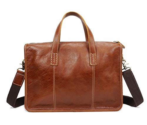 "FELICIGG Herren Aktentasche aus Leder Große Umhängetasche Schulter Messenger Bag Retro Crossbody 13 ""Laptop-Handtasche (Color : Brown)"