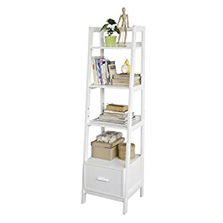 SoBuy® FRG116-K-W, White Storage Display Shelving Ladder Shelf Bookcase with Drawer and 4 Shelves, 44x40x160cm
