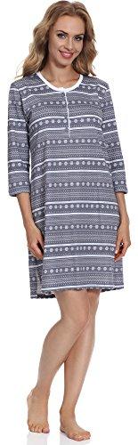 Cornette Camicia da notte per Donna CR6512016 Graphite/Bianco