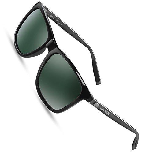SUNMEET Sonnenbrille Herren Polarisierte für Männer Jahrgang Retro Sonnenbrille Herren Unisex UV400 S1001(Grün/Gun)