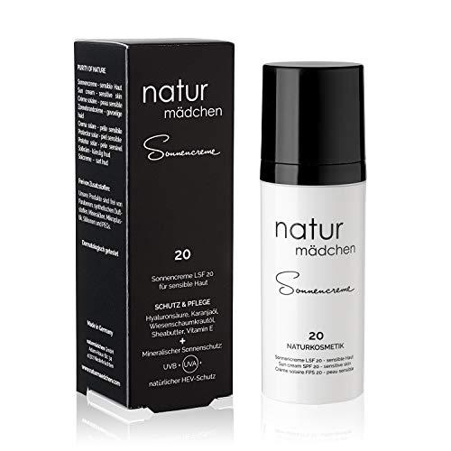 naturmädchen Sonnencreme LSF 20, 50ml vegane Naturkosmetik UVA-, UVB- und HEV-Schutz/Made in Germany - Natur Mädchen