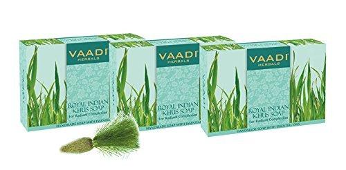 Paquet de 3 SAVONS ROYAL INDIAN KHUS AVEC HUILE D'OLIVE ET Soya - Tout Naturel - Sans Paraban - Sans Sulfate - Unisexe - Bon pour tous les types de peau - (3 X 75 gms)