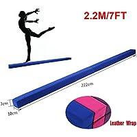 220 cm/7.2 pies Equilibrio Beam de Entrenamiento de Gimnasia,Balance Beam de Gamuza Sintética Plegable, Ejercicio de Entrenamiento Deportes en Casa o Gimnasia (Azul)