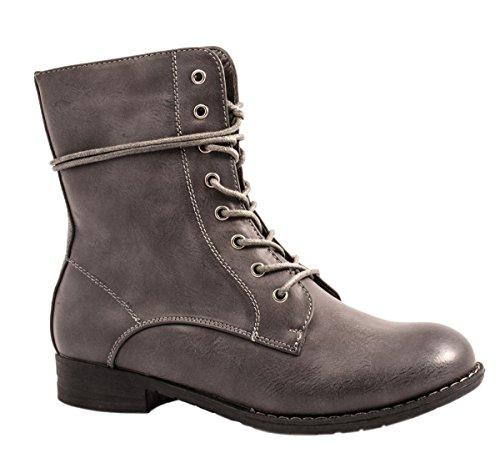 Femme Bottes Bottines pour femme Talon Bloc Aspect Cuir/rivets à lacets Biker Boots Worker Taille 36–418511 Grau New York