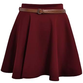 Skater Belted Stretch Waist Plain Flippy Flared Short Skirt Burgundy Womens Size 8