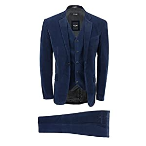 356d6ccd6b0 Xposed Mens 3 Piece Navy Blue Corduroy Suit Vintage Smart Casual Tailored  Fit Velvet Blazer Coat Set