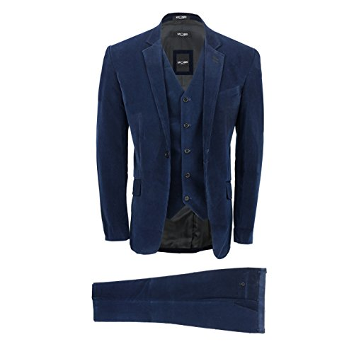 Xposed Herren Anzug blau marineblau Gr. Brust 60,Hose 112 cm, marineblau (Cord-anzug)