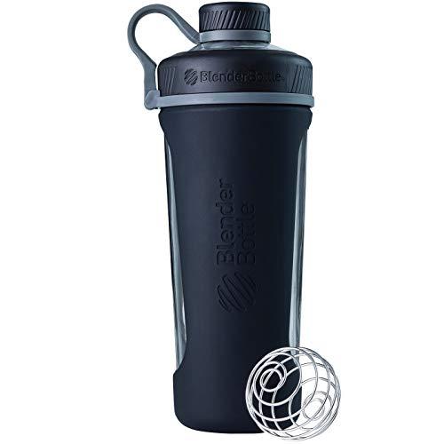 BlenderBottle Radian Glas | Wasserflasche| Protein Shaker| Diät Shaker| Fitness Shaker | BPA frei | mit BlenderBall | Glasflasche mit Silikonhülle - Black (820ml - skaliert bis 710ml)