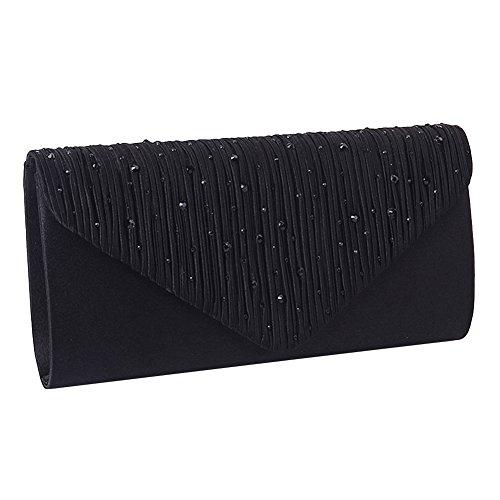 Damen Strass Umschlag Clutch Bag Classic Satin gefaltete Clutch Abend Handtasche Geldbörse (schwarz)