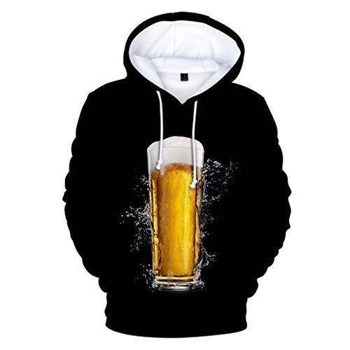 Kapuzenpullover Herren Unisex 3D Druck Bier Hoodie Drawstring Taschen Long Sleeve Sweatshirt Piebo Oktoberfest Langarm Oversize Pullover Slim Fit Kapuzenjacke Sweat Hood mit Großer Tasche -