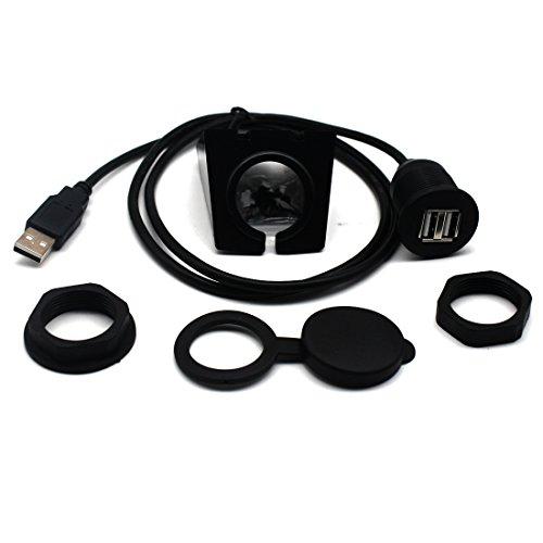 motong Auto Truck Armaturenbrett Flush Mount mit USB-Stecker auf Dual USB-Buchse-Verlängerungskabel-Kit für Auto, Boot und Motorrad 2m Länge Ipod-dashboard Mount