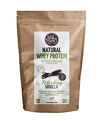 Natural Whey Protein - Vanilla - 78% Protein, Organic Whey from Grass Fed Cows - Free of Nasties - 500g by Ekopura Nutrition