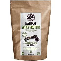 Protéine de Lactosérum Bio - Vanille - 78% de Protéines - Bio Certifié - Sérum biologique dérivé de vaches heureuses et nourries d'herbe - Sans: Hormones, OGM, Additifs, Soja, Sucre Ajouté - 500g