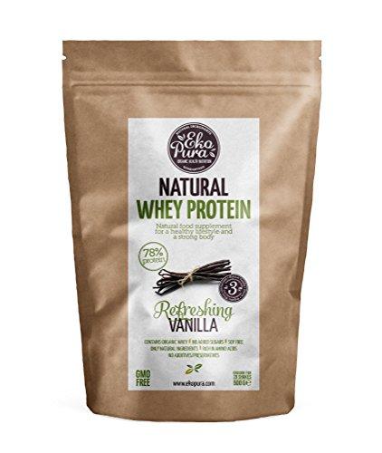 Natural Whey Protein - Refreshing Vanilla - 78% Protein - Bio Molkenprotein aus glücklichem Gras gefütterte Kühe - Frei von Additiven - 500g (Optimale Stevia)