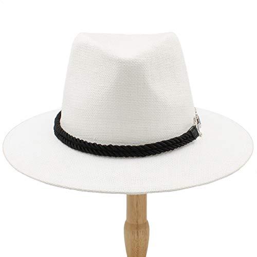 Unbekannt Hut- 2018 Männer Frauen British Retro Jazz Hut Mode Panama Hüte Fedora Fedoras Unisex Baumwolle Plaid Frühling Herbst (Farbe : Weiß, Größe : 56-58CM) -