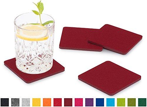 FILU Filzuntersetzer eckig 8er Pack (Farbe wählbar) bordeaux / dunkelrot - Untersetzer aus Filz für Tisch und Bar als Glasuntersetzer / Getränkeuntersetzer für Glas und Gläser rechteckig viereckig