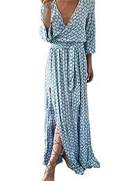 ❤️Amlaiworld Femme Robe Chic Longue Col V à Fleur Manches Courtes en Coton Robe  Maxi 6bafd5ba1c71