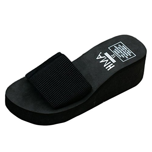 Damen Sandalen Internet Indoor Outdoor Flip-flops Slipper Badeschuhe (37, schwarz) (Kork Kork-sandalen Einfache)