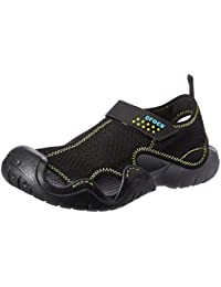 crocs Men's Swiftwater Black and Charcoal Sandals and Floaters