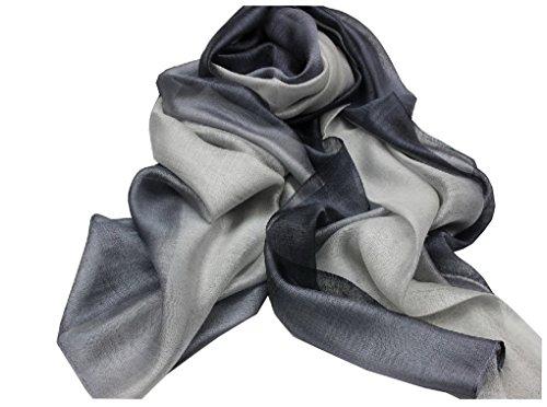 ACMEDE - Echarpe Foulard Long Doux Leger Anti uv Coloré En Soie Coton Cou Wrap Chale Pour Femme Ete Hiver - Gris - 195*68cm