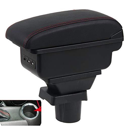 Farbe: SCHWARZ // ROT Mittelarmlehne Mittel-Armlehne mit klappbarem staufach Mittel-konsole Leder Fahrzeugspezifisch