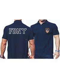 Polo bleu marine, FDNY avec fabrigem poitrine Logo et inscription Outline sur le dos