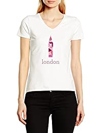 Big Ben London V-Cuello Camiseta Para Mujer Blanco Todos Los Tamaños | Women's V-Neck T-Shirt White