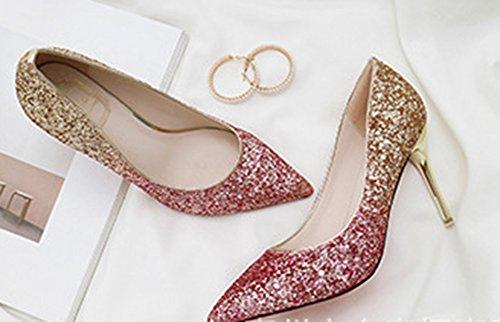 Aisun Multicolore Scintillio Brillante Scarpe Sposa Da Donna Rossa aXxarCq