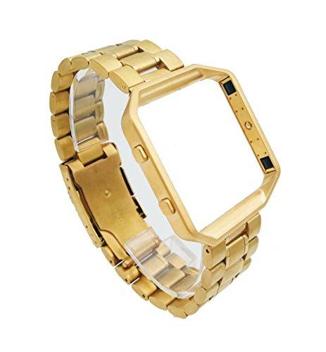 Für Fitbit Blaze Smart Watch, Luxus Edelstahl massiv Armband Gold Gurt Band + Gold Rahmen