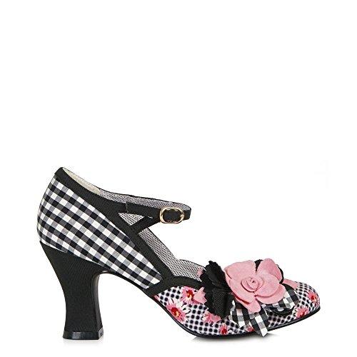 Ruby Shoo DEE Vintage Gingham FLOWER Riemchen PUMPS High Heels Rockabilly (36) - 2