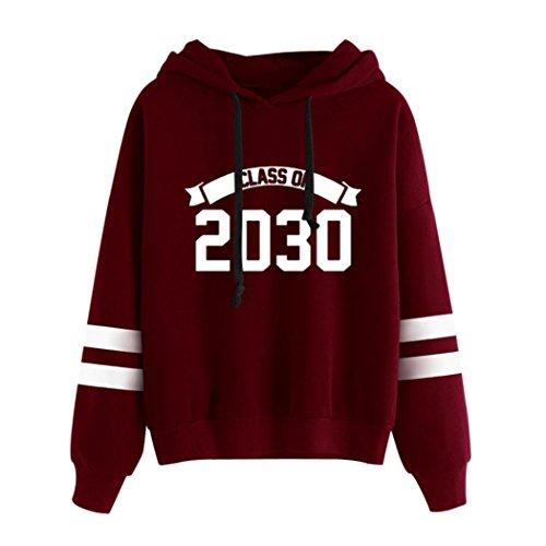 Damen Hoodie Xinan Langarm Sweatshirt Jumper Mit Pullover Bluse (M, 『2030』Rot) (Shorts Fit Loose Jean)