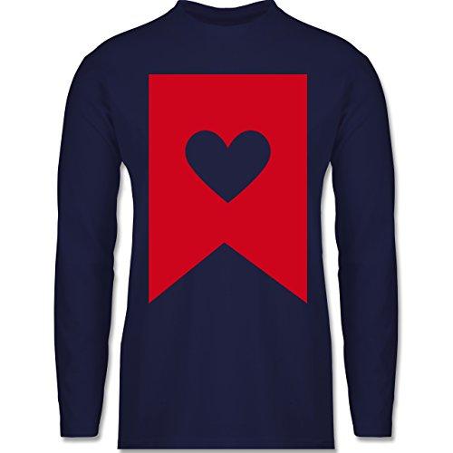 Shirtracer Symbole - Herz - Herren Langarmshirt Navy Blau