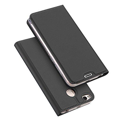 Wallet Cover Per Xiaomi RedMi 4X, Custodia Per Xiaomi RedMi 4X - SMTR Ultra Silm PU Wallet Case Cover Chiusura magnetica, paraurti TPU Per Xiaomi RedMi 4X - grigio scuro