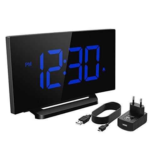 Mpow Reloj Despertador Digital  Reloj de Pantalla Curva LED de 5 pulgadas y Atenuador  3 Sonidos de Alarma con 4 Brillo Ajustable  Despertadores de Función Snooze con Adaptador para Dormitorio  Oficina Cocina (Azul)
