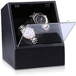 (49,99 nur in Black Friday)CRITIRON Coffret Watch Winder- Automatischer Uhrenbeweger aus PU-Leder für Zwei Uhren(2+0) Schwarz