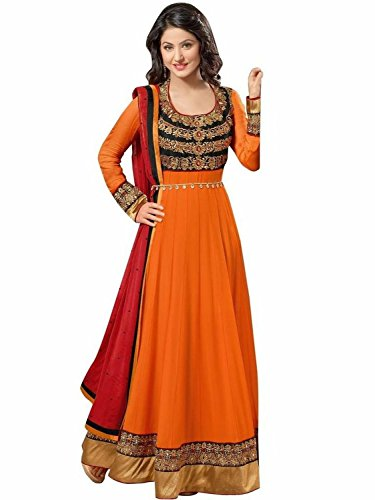 orange georgettes embroidary semi stitched salwar suit
