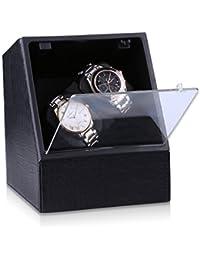 CRITIRON -- 2 + 0 Watch Winder Orologio a Carica Automatica, finestre automatiche, in pelle nera